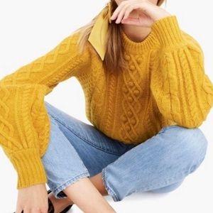 NWT J Crew DEMYLEE Gold Balloon Sleeve Sweater M